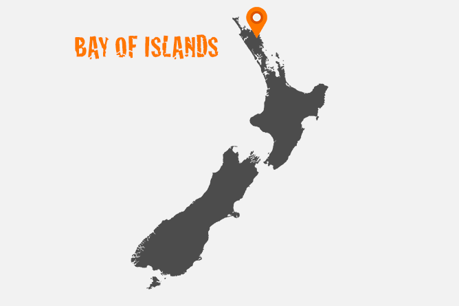 Map Of Bay Of Islands, North Island New Zealand