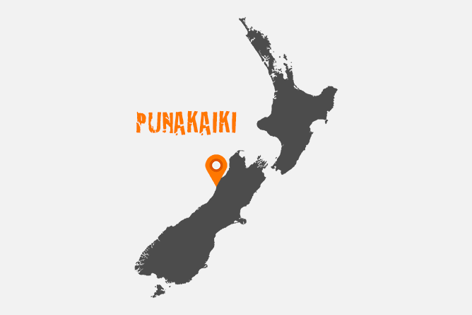 Map Of Punakaiki, New Zealand